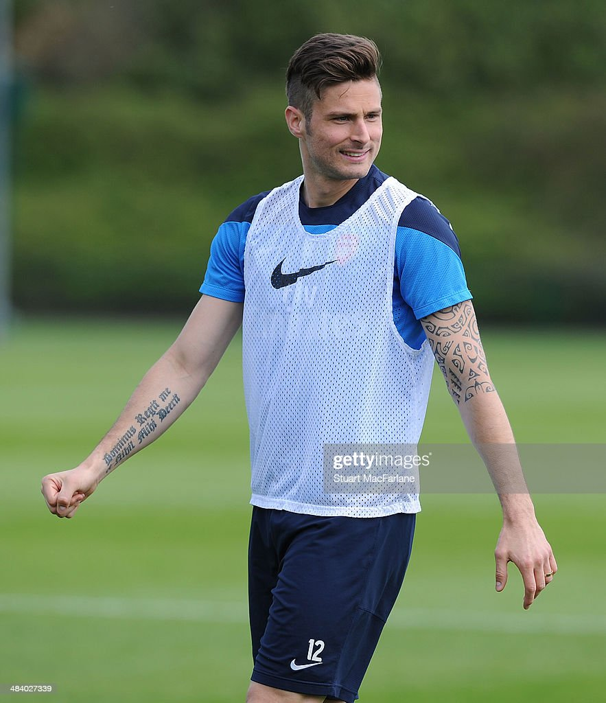 Olivier Giroud of Arsenal during a training session at London Colney on April 11, 2014 in St Albans, England.