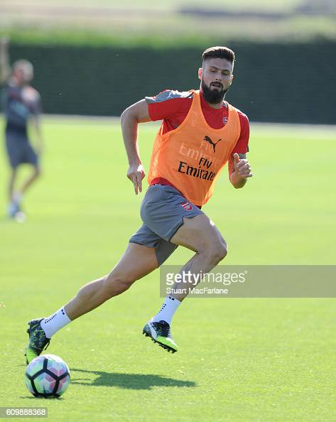 Olivier Giroud of Arsenal during a training session at London Colney on September 23 2016 in St Albans England
