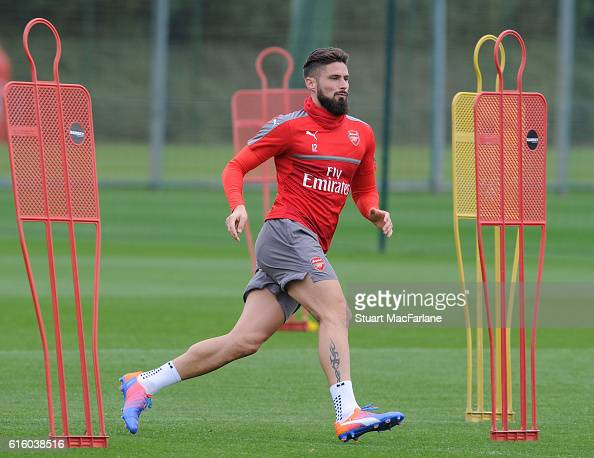 Olivier Giroud of Arsenal during a training session at London Colney on October 21 2016 in St Albans England