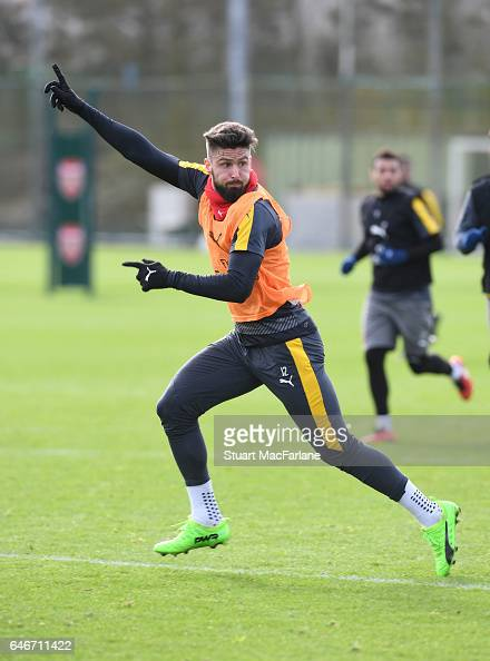 Olivier Giroud of Arsenal during a training session at London Colney on March 1 2017 in St Albans England