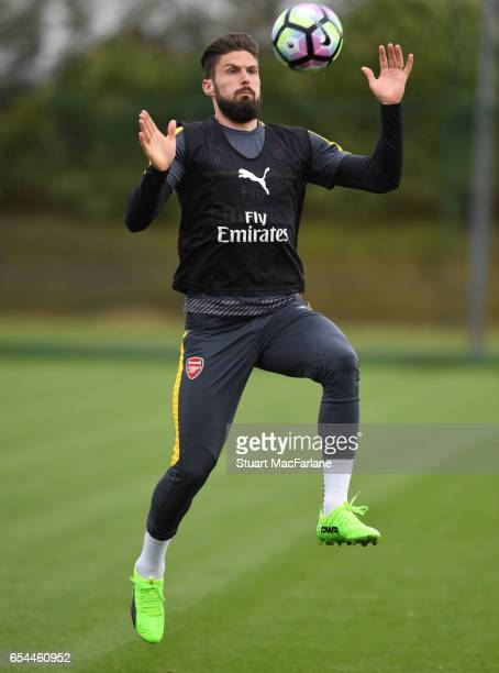 Olivier Giroud of Arsenal during a training session at London Colney on March 17 2017 in St Albans England