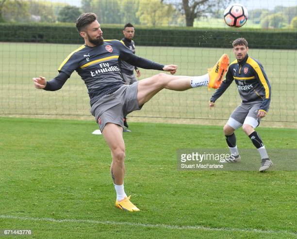 Olivier Giroud of Arsenal during a training session at London Colney on April 22 2017 in St Albans England