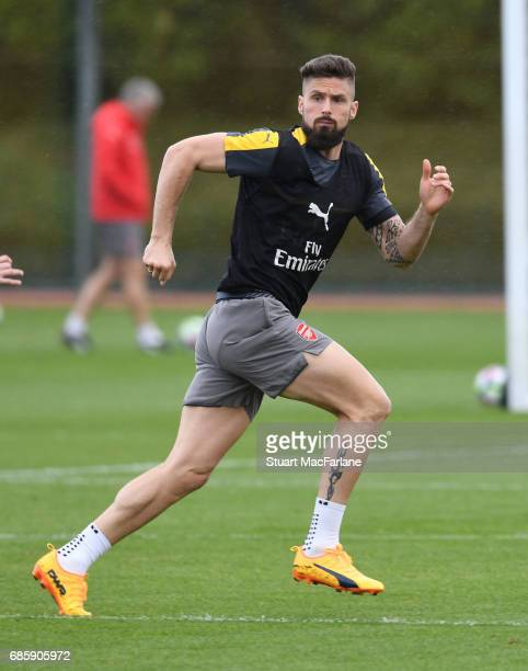 Olivier Giroud of Arsenal during a training session at London Colney on May 20 2017 in St Albans England
