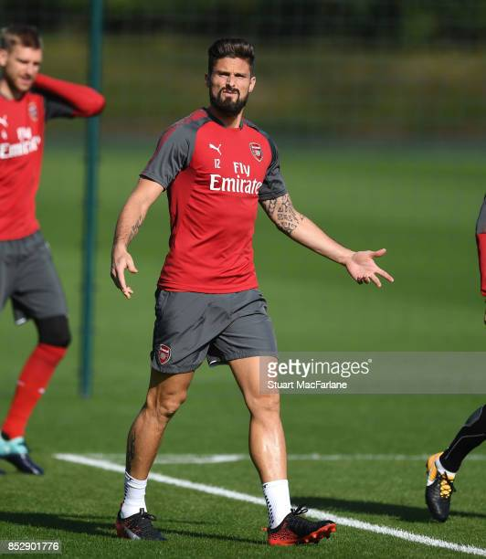 Olivier Giroud of Arsenal during a training session at London Colney on September 24 2017 in St Albans England