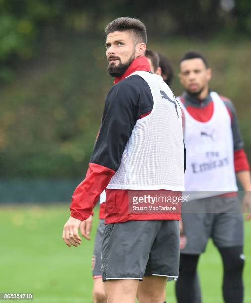 Olivier Giroud of Arsenal during a training session at London Colney on October 23 2017 in St Albans England