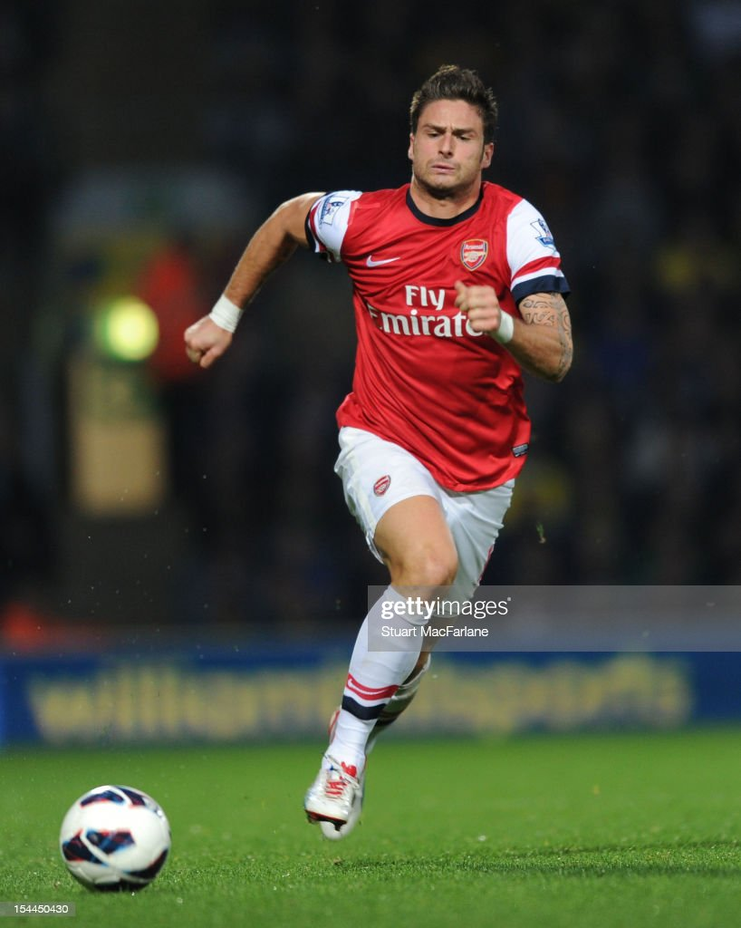 <a gi-track='captionPersonalityLinkClicked' href=/galleries/search?phrase=Olivier+Giroud&family=editorial&specificpeople=5678034 ng-click='$event.stopPropagation()'>Olivier Giroud</a> of Arsenal during the Barclays Premier League match between Norwich City and Arsenal at Carrow Road on October 20, 2012 in Norwich, England.