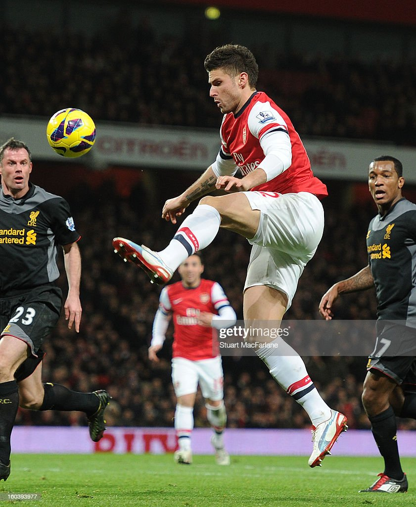 Olivier Giroud of Arsenal during the Barclays Premier League match between Arsenal and Liverpool at Emirates Stadium on January 30, 2013 in London, England.