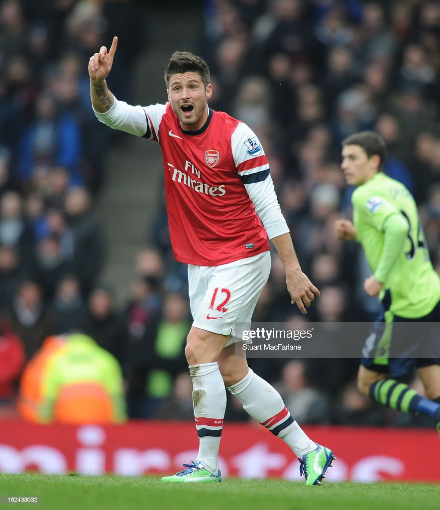 Olivier Giroud of Arsenal during the Barclays Premier League match between Arsenal and Aston Villa at Emirates Stadium on February 23, 2013 in London, England.