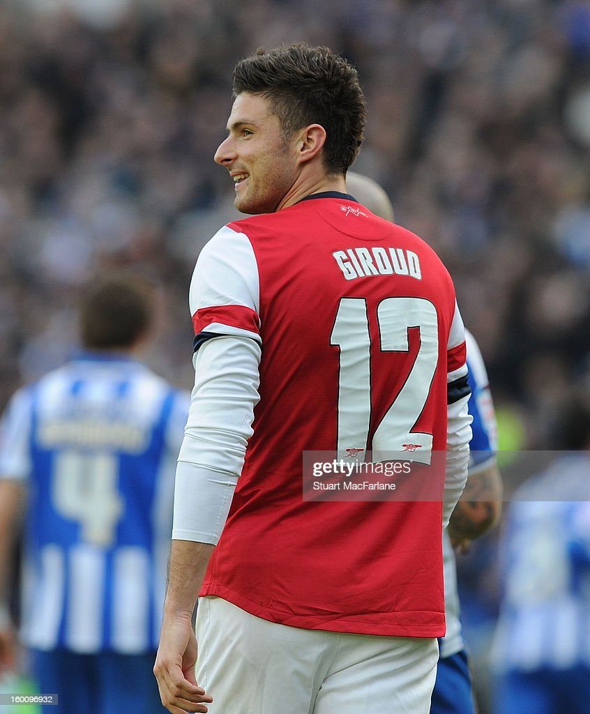 Olivier Giroud of Arsenal during the FA Cup Fourth Round match between Brighton & Hove Albion and Arsenal at the Amex Stadium on January 26, 2013 in Brighton, England.