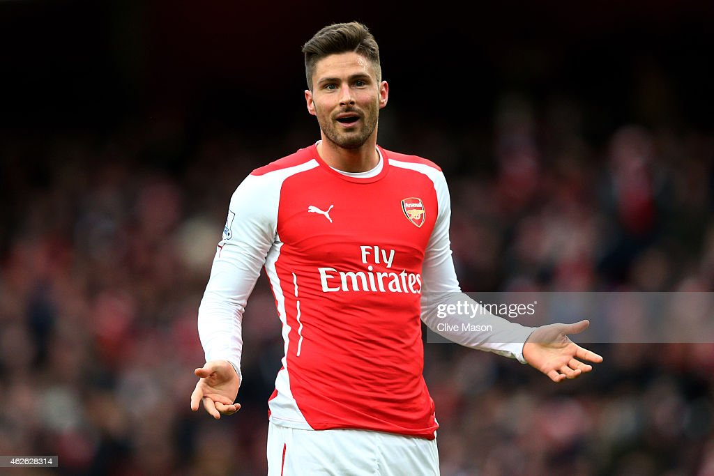 <a gi-track='captionPersonalityLinkClicked' href=/galleries/search?phrase=Olivier+Giroud&family=editorial&specificpeople=5678034 ng-click='$event.stopPropagation()'>Olivier Giroud</a> of Arsenal gestures during the Barclays Premier League match between Arsenal and Aston Villa at the Emirates Stadium on February 1, 2015 in London, England.