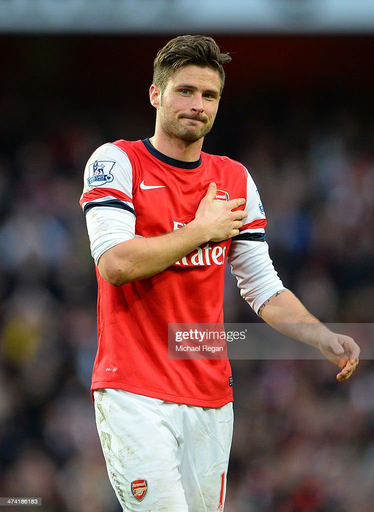 <a gi-track='captionPersonalityLinkClicked' href=/galleries/search?phrase=Olivier+Giroud&family=editorial&specificpeople=5678034 ng-click='$event.stopPropagation()'>Olivier Giroud</a> of Arsenal gestures to the fans following the Barclays Premier League match between Arsenal and Sunderland at Emirates Stadium on February 22, 2014 in London, England.
