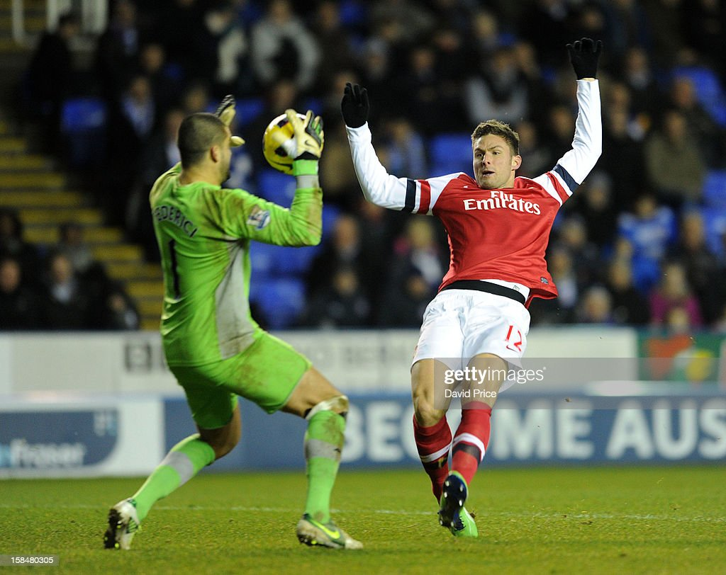 Olivier Giroud of Arsenal has his effort saved by Adam Federici of Reading during the Barclays Premier League match between Reading and Arsenal at Madejski Stadium on December 17, 2012 in Reading, England.