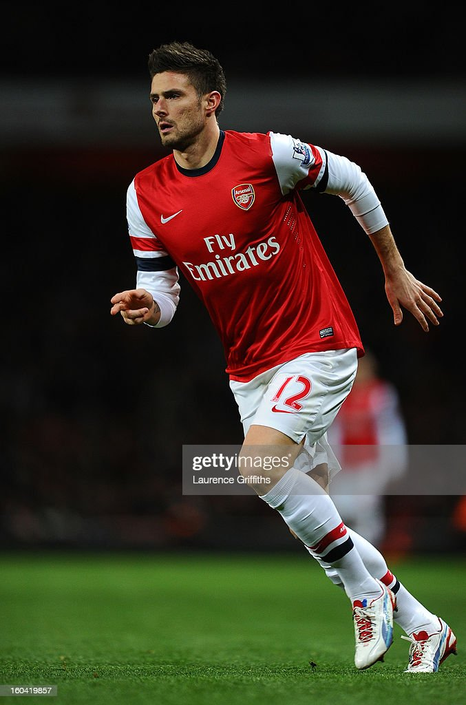 Olivier Giroud of Arsenal in action during the Barclays Premier League match between Arsenal and Liverpool at Emirates Stadium on January 30, 2013 in London, England.