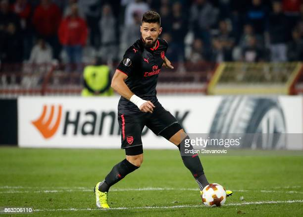 Olivier Giroud of Arsenal in action during the UEFA Europa League group H match between Crvena Zvezda and Arsenal FC at Rajko Mitic Stadium on...