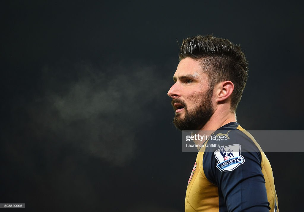 <a gi-track='captionPersonalityLinkClicked' href=/galleries/search?phrase=Olivier+Giroud&family=editorial&specificpeople=5678034 ng-click='$event.stopPropagation()'>Olivier Giroud</a> of Arsenal looks on during the Barclays Premier League match between Stoke City and Arsenal at The Britannia Stadium on January 17, 2016 in Stoke on Trent, England.