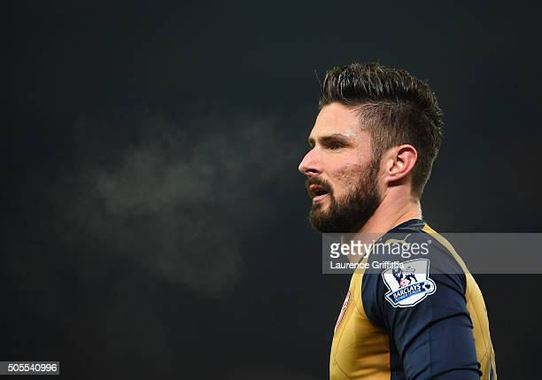 Olivier Giroud of Arsenal looks on during the Barclays Premier League match between Stoke City and Arsenal at The Britannia Stadium on January 17...