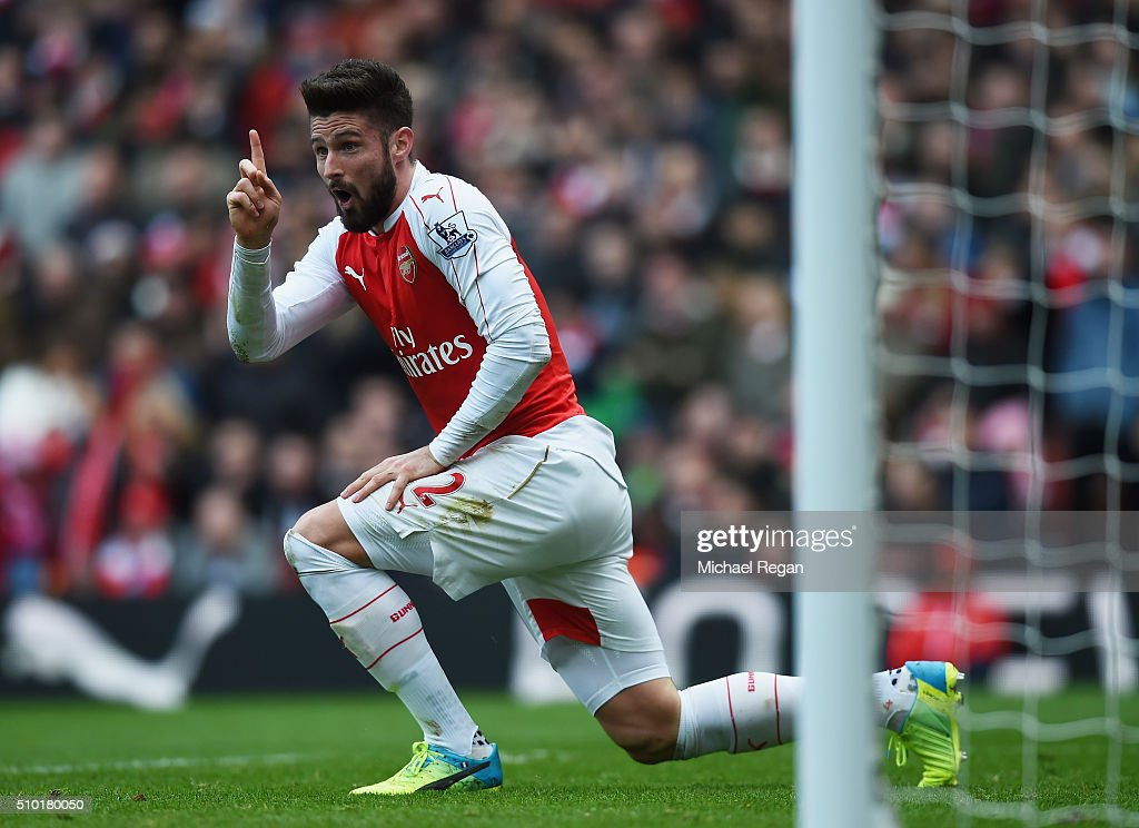 <a gi-track='captionPersonalityLinkClicked' href=/galleries/search?phrase=Olivier+Giroud&family=editorial&specificpeople=5678034 ng-click='$event.stopPropagation()'>Olivier Giroud</a> of Arsenal, looks on during the Barclays Premier League match between Arsenal and Leicester City at the Emirates Stadium.