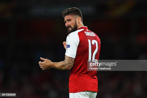 Olivier Giroud of Arsenal reacts during the UEFA Europa League group H match between Arsenal FC and 1 FC Koeln at Emirates Stadium on September 14...