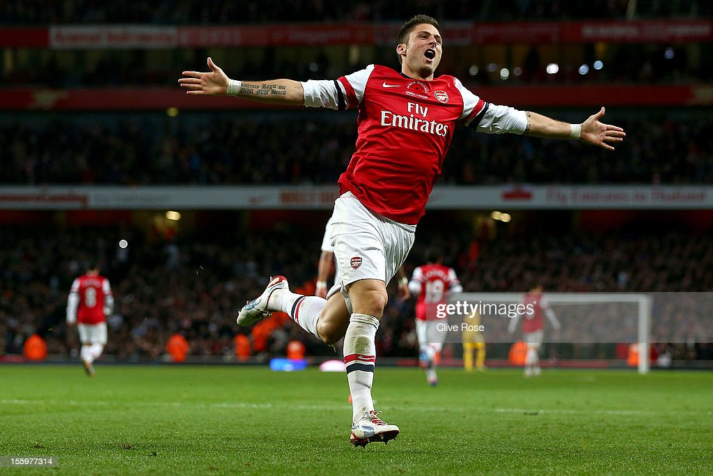 <a gi-track='captionPersonalityLinkClicked' href=/galleries/search?phrase=Olivier+Giroud&family=editorial&specificpeople=5678034 ng-click='$event.stopPropagation()'>Olivier Giroud</a> of Arsenal scores celebrates second goal during the Barclays Premier League match between Arsenal and Fulham at Emirates Stadium on November 10, 2012 in London, England.