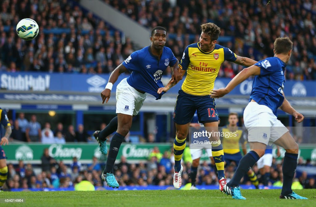 <a gi-track='captionPersonalityLinkClicked' href=/galleries/search?phrase=Olivier+Giroud&family=editorial&specificpeople=5678034 ng-click='$event.stopPropagation()'>Olivier Giroud</a> of Arsenal scores his team's second goal during the Barclays Premier League match between Everton and Arsenal at Goodison Park on August 23, 2014 in Liverpool, England.