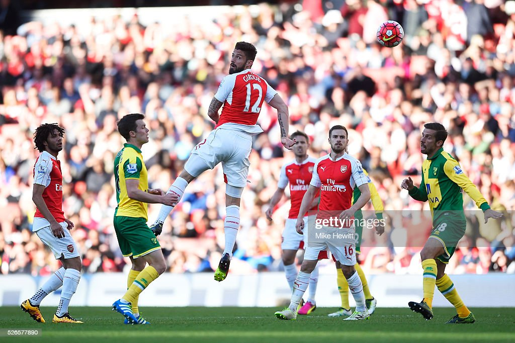 Olivier Giroud of Arsenal shoots at goal during the Barclays Premier League match between Arsenal and Norwich City at The Emirates Stadium on April 30, 2016 in London, England