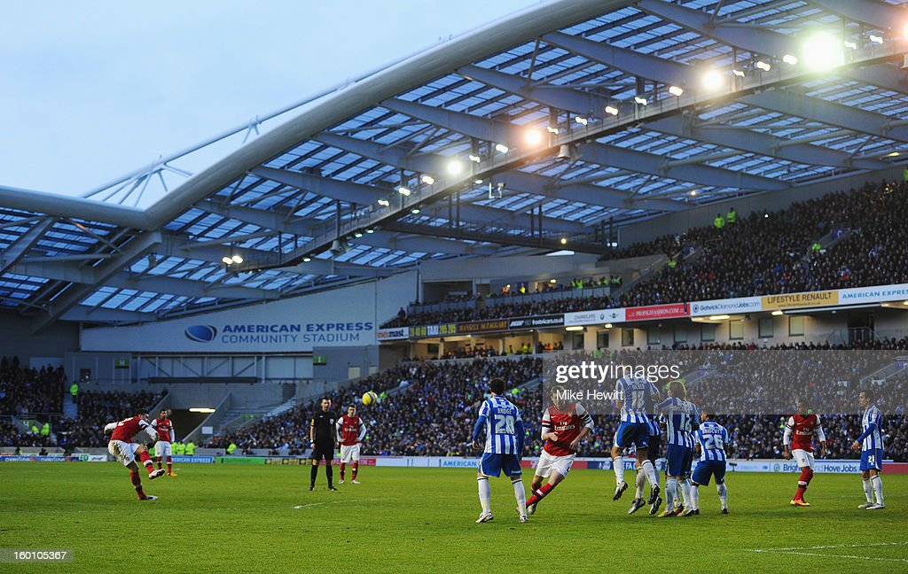 Olivier Giroud of Arsenal shoots from a free kick during the FA Cup with Budweiser Fourth Round match between Brighton & Hove Albion and Arsenal at Amex Stadium on January 26, 2013 in Brighton, England.