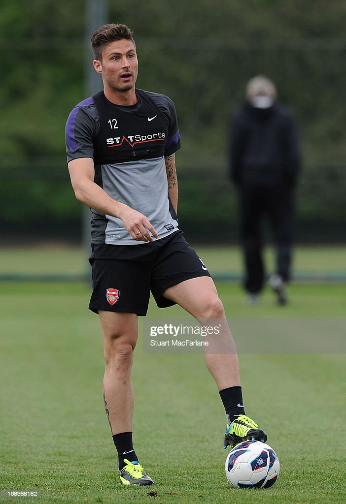 Olivier Giroud of Arsenal takes part in a training session at London Colney on May 18, 2013 in St Albans, England.