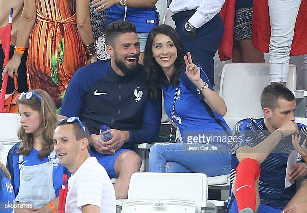 Olivier Giroud of France and his wife Jennifer Giroud celebrate the victory following the UEFA Euro 2016 semifinal match between Germany and France...