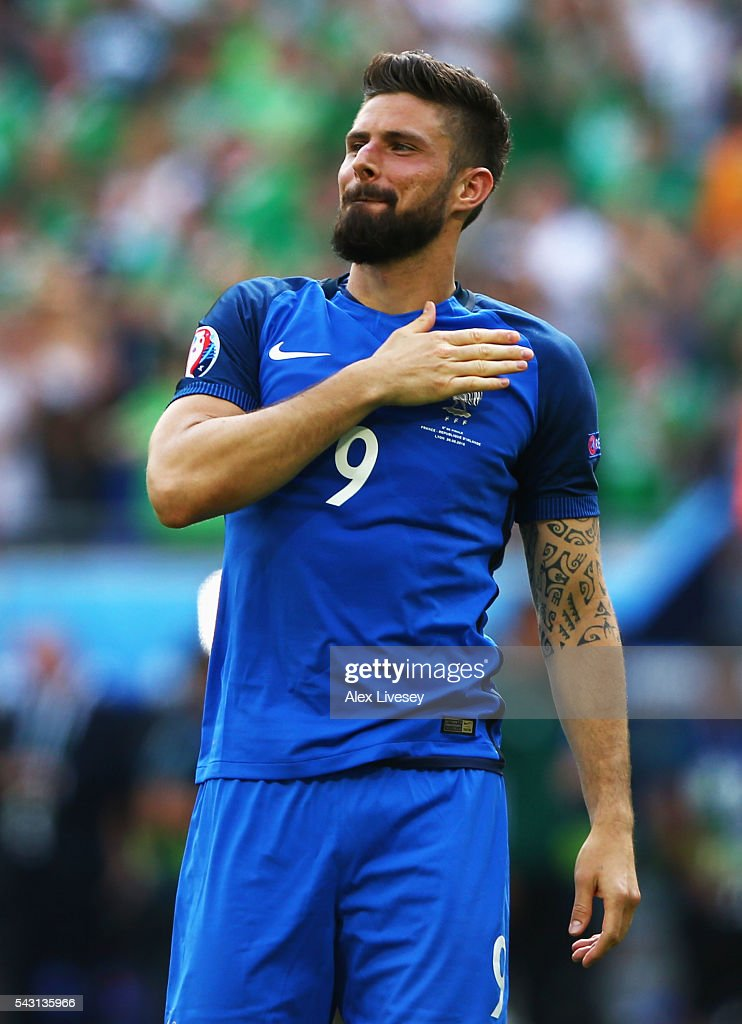 <a gi-track='captionPersonalityLinkClicked' href=/galleries/search?phrase=Olivier+Giroud&family=editorial&specificpeople=5678034 ng-click='$event.stopPropagation()'>Olivier Giroud</a> of France celebrates his team's 2-1 win in the UEFA EURO 2016 round of 16 match between France and Republic of Ireland at Stade des Lumieres on June 26, 2016 in Lyon, France.
