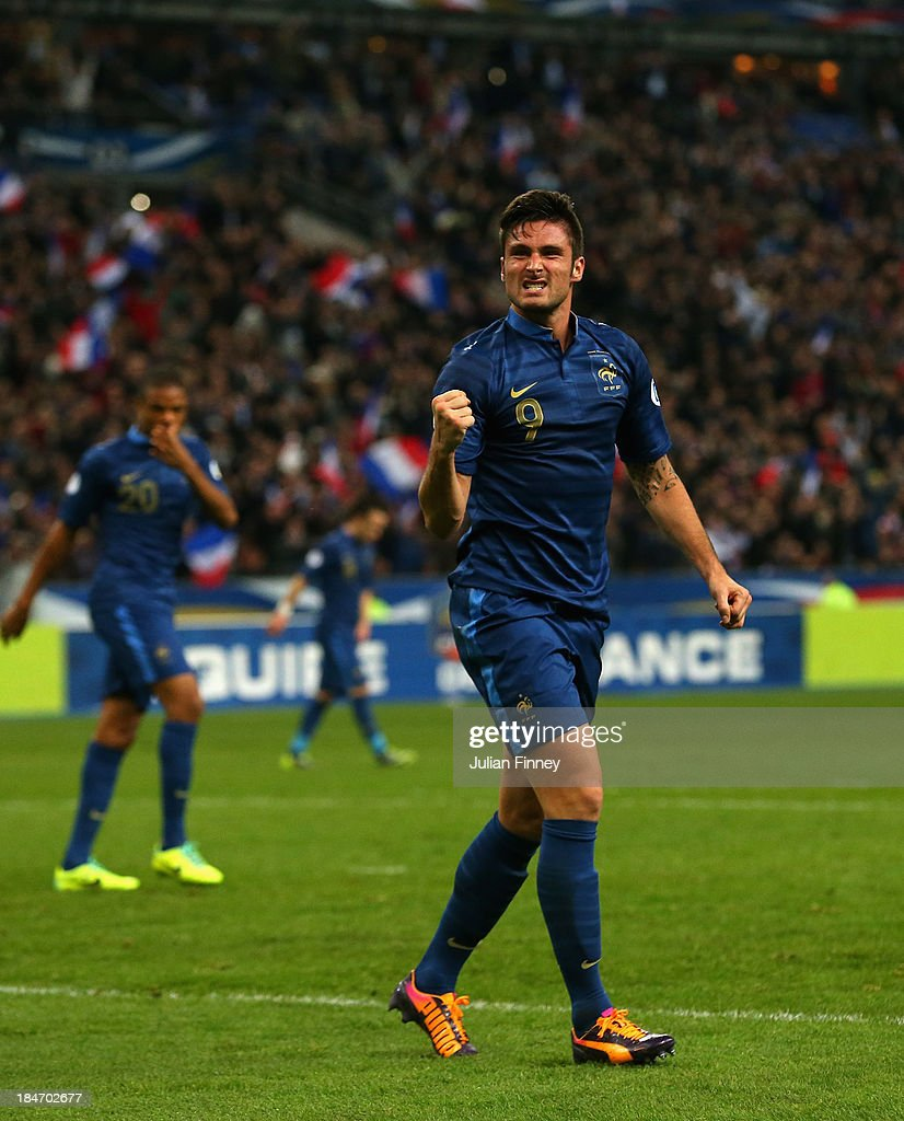 <a gi-track='captionPersonalityLinkClicked' href=/galleries/search?phrase=Olivier+Giroud&family=editorial&specificpeople=5678034 ng-click='$event.stopPropagation()'>Olivier Giroud</a> of France celebrates scoring a goal his teams second goal during the FIFA 2014 World Cup Qualifying Group I match between France and Finland at the Stade de France on October 15, 2013 in Paris, France.