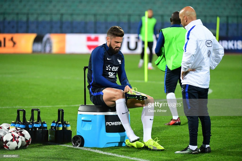Olivier Giroud of France during the training session of the France football team ahead the World Cup qualifying match against Bulgaria on October 6, 2017 in Sofia, Bulgaria.