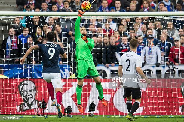 Olivier Giroud of France goalkeeper Manuel Neuer of Germany Shkodran Mustafi of Germany during the International friendly match between France and...