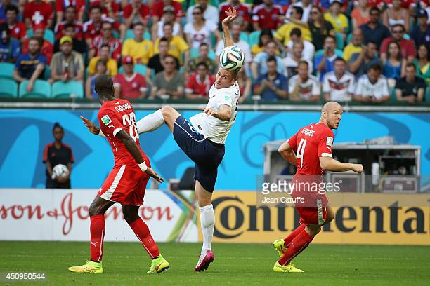 Olivier Giroud of France in action during the 2014 FIFA World Cup Brazil Group E match between Switzerland and France at Arena Fonte Nova on June 20...