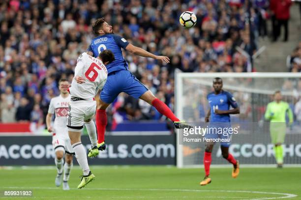 Olivier Giroud of France in action during the FIFA 2018 World Cup Qualifier between France and Belarus at Stade de France on October 10 2017 in Paris