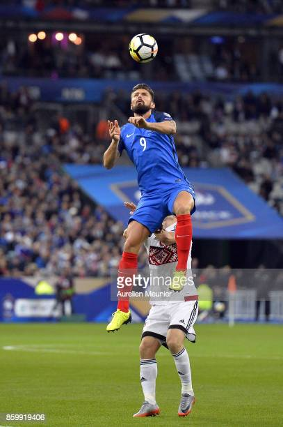 Olivier Giroud of France jumps for the ball during the FIFA 2018 World Cup Qualifier between France and Belarus at Stade de France on October 10 2017...