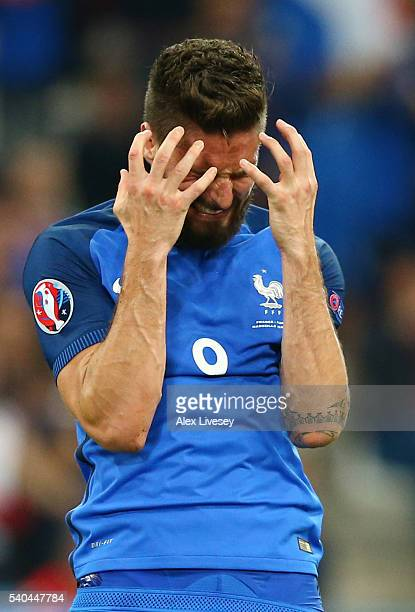 Olivier Giroud of France looks dejected following a missed chance during the UEFA EURO 2016 Group A match between France and Albania at Stade...