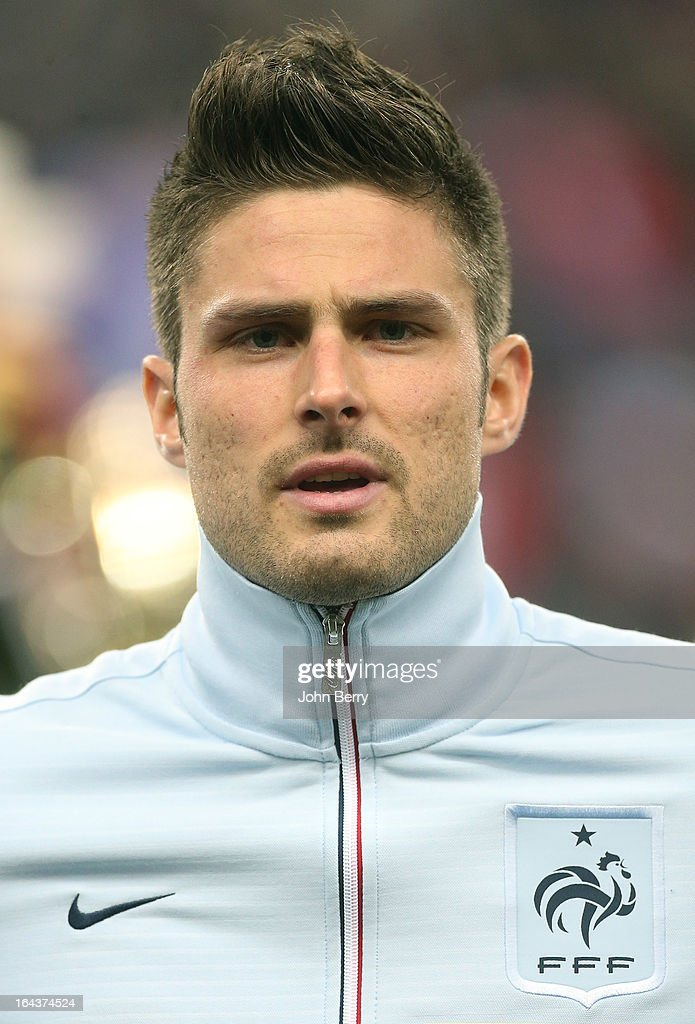 <a gi-track='captionPersonalityLinkClicked' href=/galleries/search?phrase=Olivier+Giroud&family=editorial&specificpeople=5678034 ng-click='$event.stopPropagation()'>Olivier Giroud</a> of France poses prior to the FIFA 2014 World Cup qualifier match between France and Georgia at the Stade de France on March 22, 2013 in Saint-Denis near Paris, France.