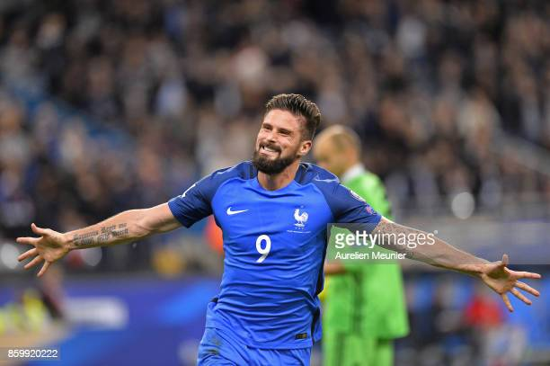 Olivier Giroud of France reacts after scoring the second goal during the FIFA 2018 World Cup Qualifier between France and Belarus at Stade de France...