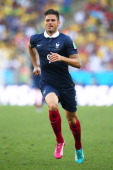 Olivier Giroud of France runs on during the 2014 FIFA World Cup Brazil Quarter Final match between France and Germany at Maracana on July 4 2014 in...