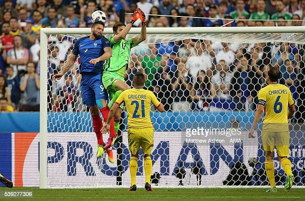 Olivier Giroud of France scores a goal to make the score 10 during the UEFA EURO 2016 Group A match between France and Romania at Stade de France on...