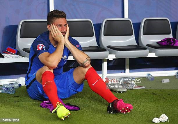 Olivier Giroud of France shows his dejection after his team's 01 defeat in the UEFA EURO 2016 Final match between Portugal and France at Stade de...
