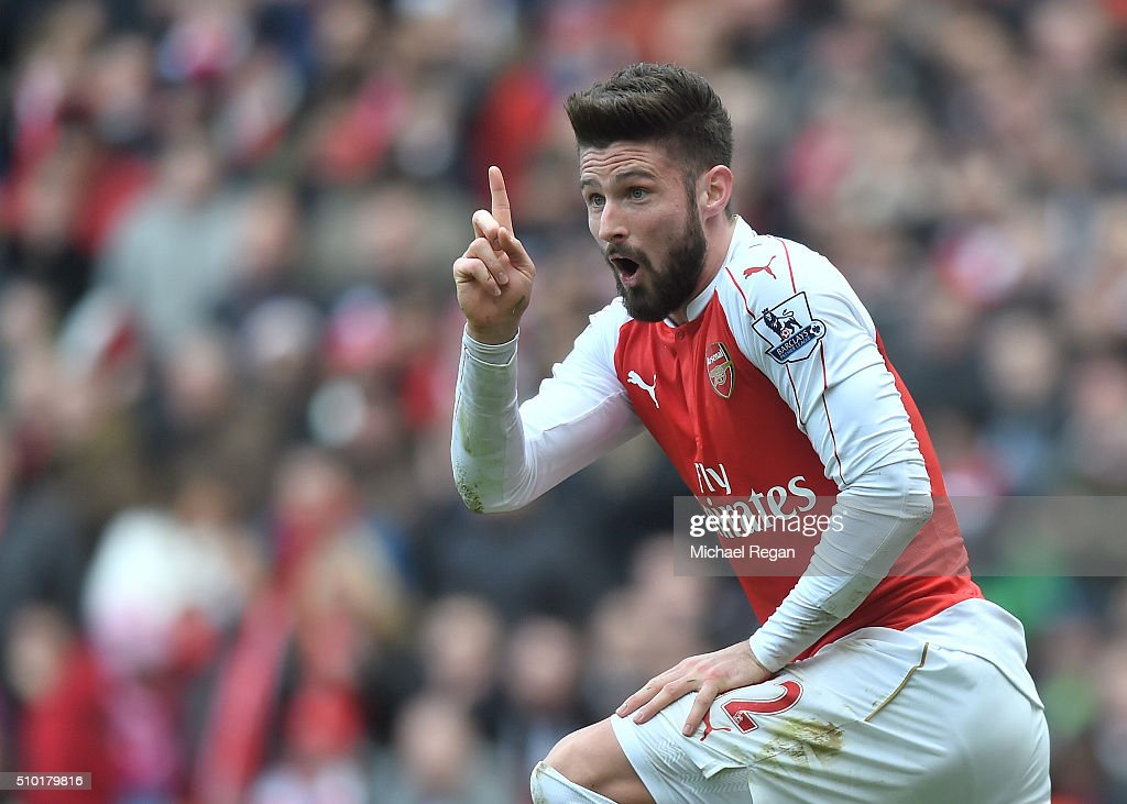 <a gi-track='captionPersonalityLinkClicked' href=/galleries/search?phrase=Olivier+Giroud&family=editorial&specificpeople=5678034 ng-click='$event.stopPropagation()'>Olivier Giroud</a> reacts during the Barclays Premier League match between Arsenal and Leicester City at the Emirates Stadium.