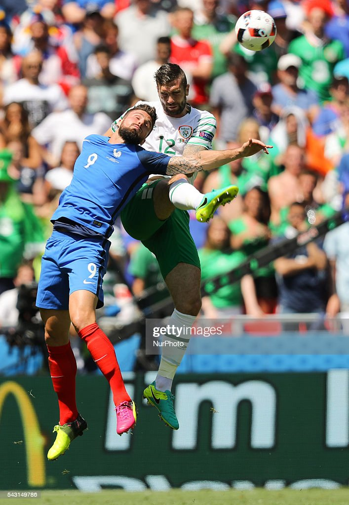 Olivier Giroud (FRA), Shane Duffy (IRL), during the UEFA EURO 2016 round of 16 match between France and Republic of Ireland at Stade des Lumieres on June 26, 2016 in Lyon, France.