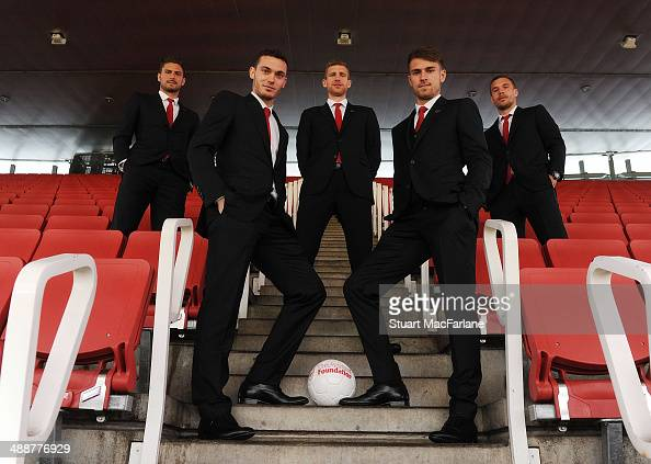 Olivier Giroud Thomas Vermaelen Per Mertesacker Aaron Ramsey and Lukas Podolski of Arsenal attend the Arsenal Foundation Charity Ball at Emirates...