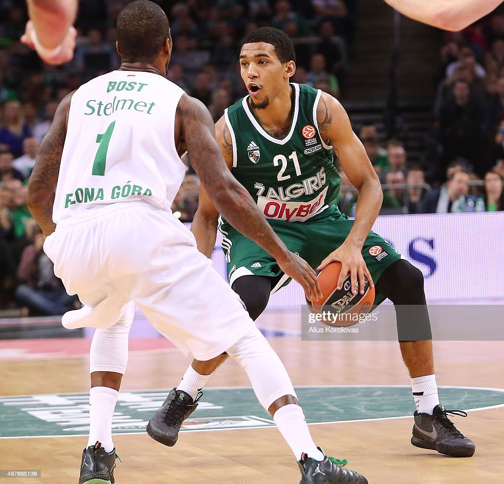 <a gi-track='captionPersonalityLinkClicked' href=/galleries/search?phrase=Olivier+Hanlan&family=editorial&specificpeople=10135196 ng-click='$event.stopPropagation()'>Olivier Hanlan</a>, #21 of Zalgiris Kaunas competes with Demarquis Bost, #1 of Stelmet Zielona Gora in action during the Turkish Airlines Euroleague Regular Season Round 6 game between Zalgiris Kaunas v Stelmet Zielona Gora at Zalgirio Arena on November 19, 2015 in Kaunas, Lithuania.