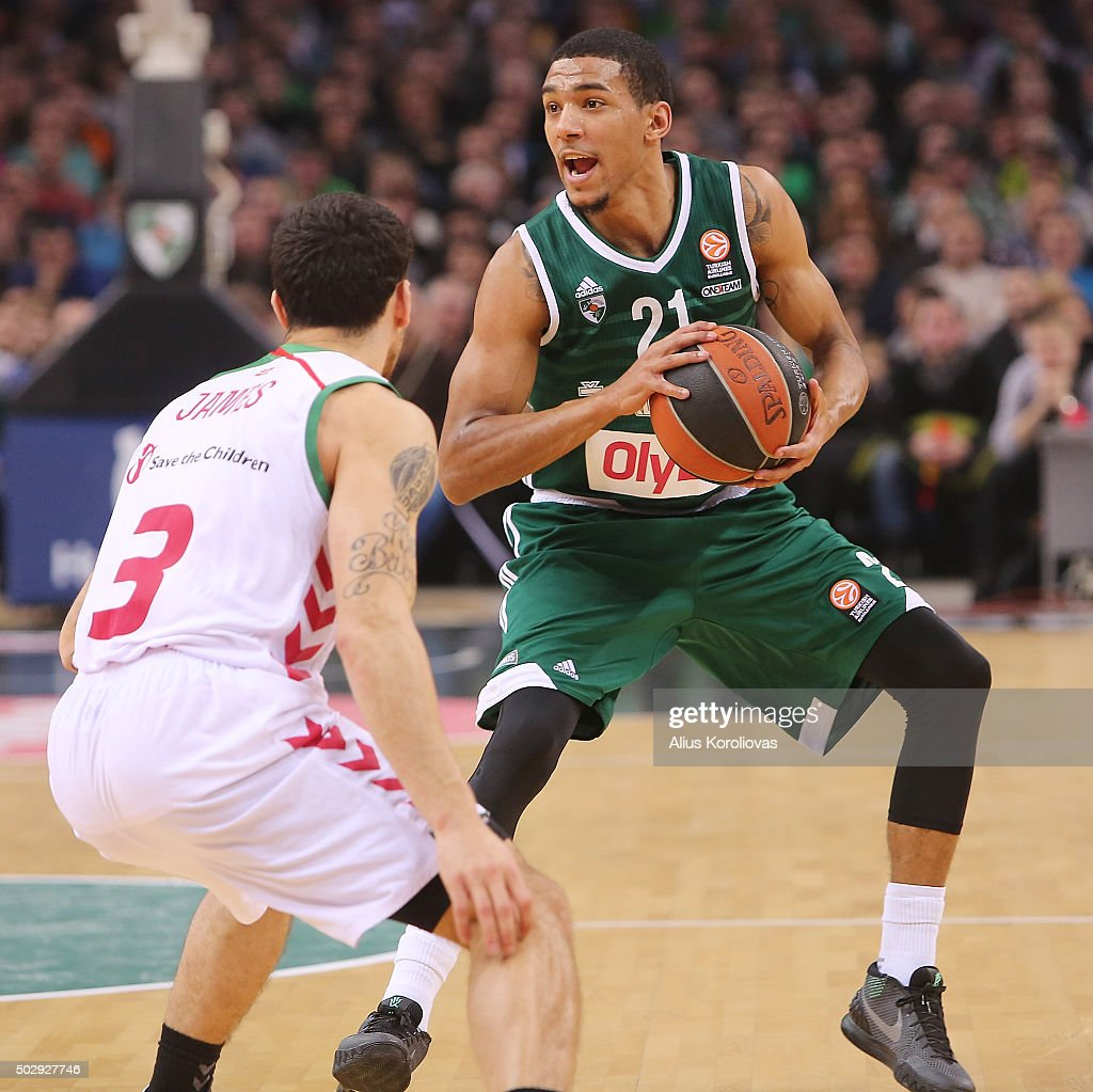 <a gi-track='captionPersonalityLinkClicked' href=/galleries/search?phrase=Olivier+Hanlan&family=editorial&specificpeople=10135196 ng-click='$event.stopPropagation()'>Olivier Hanlan</a>, #21 of Zalgiris Kaunas competes with <a gi-track='captionPersonalityLinkClicked' href=/galleries/search?phrase=Mike+James+-+Jugador+de+baloncesto+-+Nacido+en+1990&family=editorial&specificpeople=14308243 ng-click='$event.stopPropagation()'>Mike James</a>, #3 of Laboral Kutxa Vitoria Gasteiz in action during the Turkish Airlines Euroleague Basketball Top 16 Round 1 game between Zalgiris Kaunas v Laboral Kutxa Vitoria Gasteiz at Zalgirio Arena on December 30, 2015 in Kaunas, Lithuania.