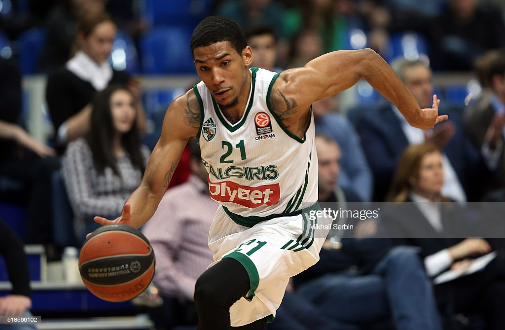<a gi-track='captionPersonalityLinkClicked' href=/galleries/search?phrase=Olivier+Hanlan&family=editorial&specificpeople=10135196 ng-click='$event.stopPropagation()'>Olivier Hanlan</a>, #21 of Zalgiris Kaunas in action during the 2015-2016 Turkish Airlines Euroleague Basketball Top 16 Round 13 game between CSKA Moscow v Zalgiris Kaunas at Megasport Arena on April 1, 2016 in Moscow, Russia.