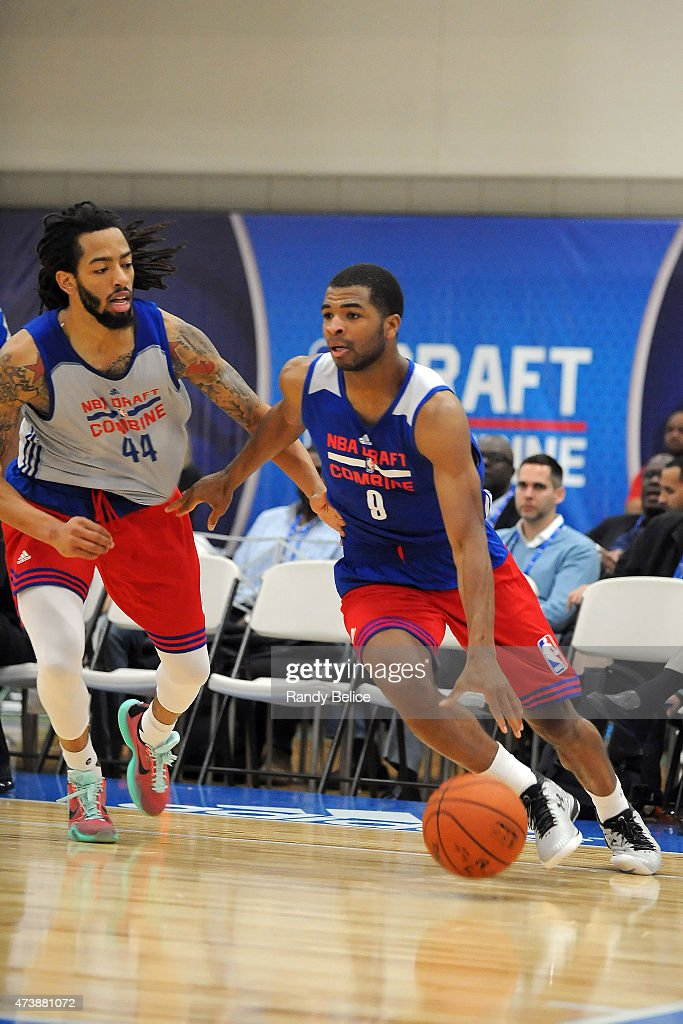 <a gi-track='captionPersonalityLinkClicked' href=/galleries/search?phrase=Olivier+Hanlan&family=editorial&specificpeople=10135196 ng-click='$event.stopPropagation()'>Olivier Hanlan</a> #8 moves the ball past <a gi-track='captionPersonalityLinkClicked' href=/galleries/search?phrase=Terran+Petteway&family=editorial&specificpeople=8710286 ng-click='$event.stopPropagation()'>Terran Petteway</a> #44 during the 2015 NBA Draft Combine on May 15, 2015 at Quest Multiplex in Chicago, Illinois.