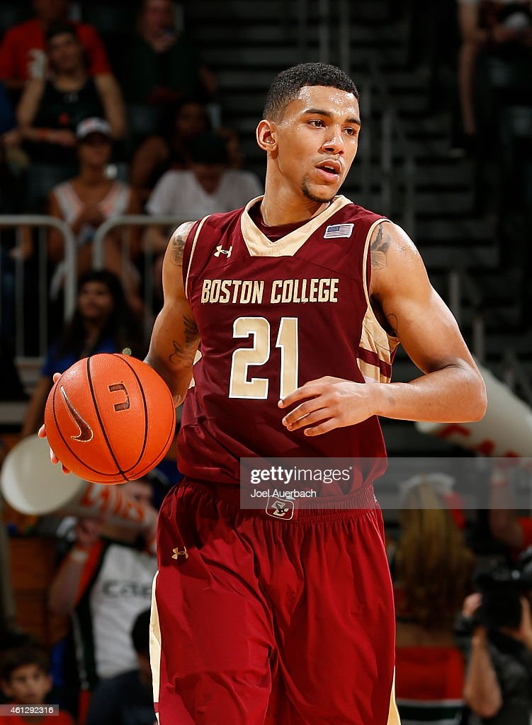 <a gi-track='captionPersonalityLinkClicked' href=/galleries/search?phrase=Olivier+Hanlan&family=editorial&specificpeople=10135196 ng-click='$event.stopPropagation()'>Olivier Hanlan</a> #21 of the Boston College Eagles brings the ball up court against the Miami Hurricanes on January 10, 2015 at the BankUnited Center in Coral Gables, Florida. Hanna was the high scorer in the game with 19 points. Miami defeated Boston College 60-56.