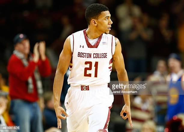 Olivier Hanlan of the Boston College Eagles celebrates his threepoint shot in the first half against the Virginia Cavaliers during the game at Conte...